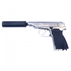 we makarov 654k with silencer silver pistol